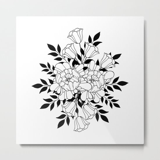 Hand drawn flowers Metal Print