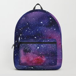Watercolor Galaxy Nebula Pink Purple Sky Stars Backpack