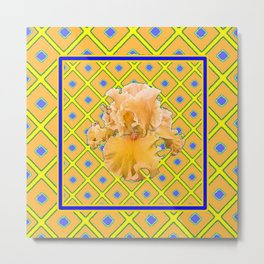 Peachy German Iris Blue & Yellow Art Metal Print