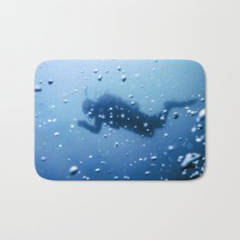 Scuba Diver Swimming on a Blue Water Air Bubbles Bath Mat