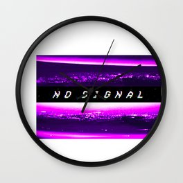 No Signal Synthwave Vaporwave Retro Glitch effect TV noise graphic Wall Clock