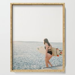 Surfer girl | Wanderlust photo print | Coastal photography wall art surfboard. Serving Tray