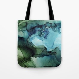 Land and Water Abstract Ink Painting Blues and Greens Tote Bag