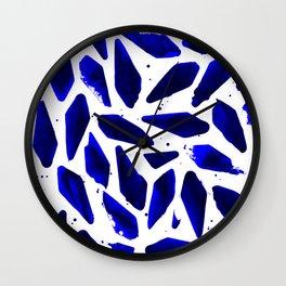 Cobalt Blue Ink Blots Wall Clock