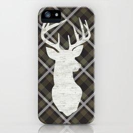 Farmhouse Decor, Stag, Deer and Plaid, Rustic Khaki Brown iPhone Case