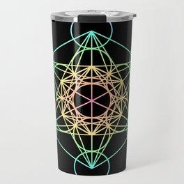 Metatron's Cube- Rainbow on Black Travel Mug