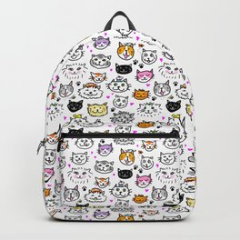 Whimsical Cat Faces Pattern Backpack