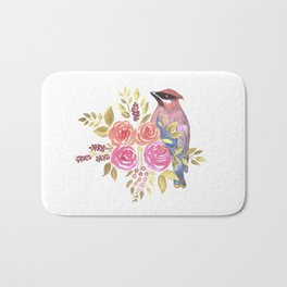 cedar waxwing with pink and orange roses and leaves Bath Mat
