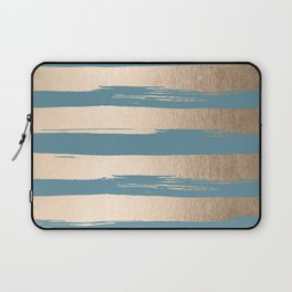Painted Stripes Gold Tropical Ocean Blue Laptop Sleeve