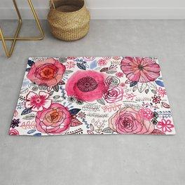Pink Floral Mix Rug