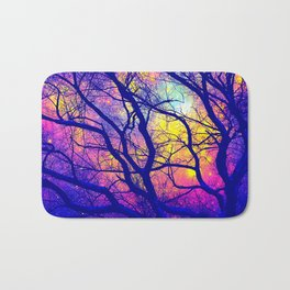 Black Trees Deep Bright & Colorful Space Bath Mat