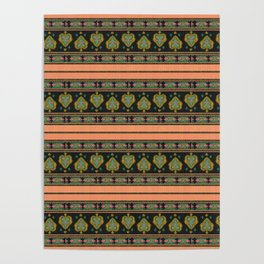 Persian Tapestry Coral Peach Poster