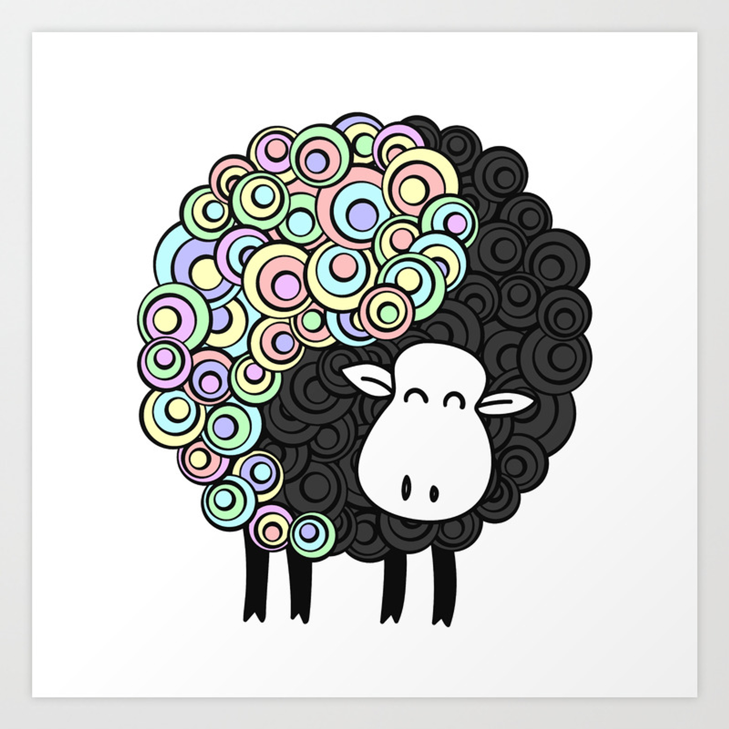 Yin Yang Sheep Art Print By Orcevasilev Society6
