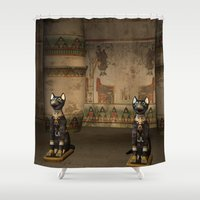 egypt Shower Curtains featuring Egypt temple  by nicky2342