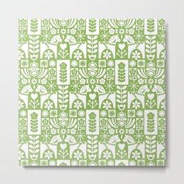 Swedish Folk Art - Greenery Metal Print