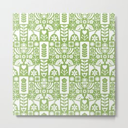 Swedish Folk Art - Greenery Metal Print