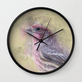 Rosey House Finch Wall Clock