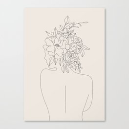Woman with Flowers Minimal Line I Canvas Print