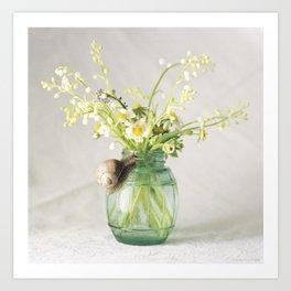 Mint Snail flowers Art Print