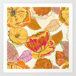 Fall Floral #pattern #floral Art Print