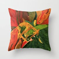 anxiety Throw Pillows featuring Anxiety by Nima