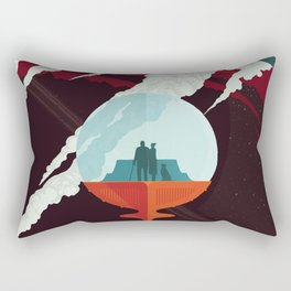 NASA Retro Space Travel Poster #3 - Enceladus Rectangular Pillow