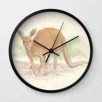 kangaroo Wall Clocks featuring Kangaroo. by Mariel Castro