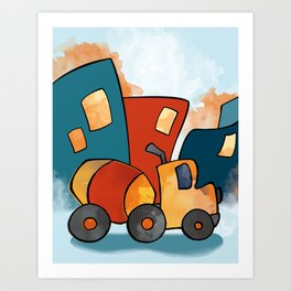 Cement Mixer, Construction Truck, Perfect for Child's Bedroom or Kid's Playroom Art Print