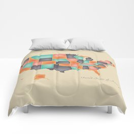 Modern Map - United States of America USA Comforters