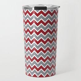 Modern Chevron Zig-Zag Pattern (red/grey) Travel Mug