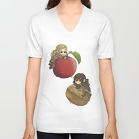 kili V-neck T-shirts featuring Apple&Walnut_Fili&Kili by AlyTheKitten
