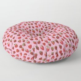 Pattern - real pressed strawberry pattern Floor Pillow