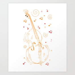 Cello Play Melody Art Print