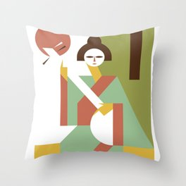 Shamisen Throw Pillow