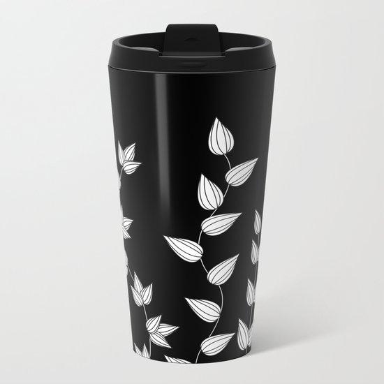 Black and White Garden Metal Travel Mug
