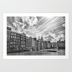 Amsterdam Canal and Dramatic Sky Art Print