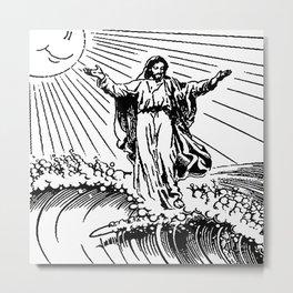 Jesus surfing Metal Print
