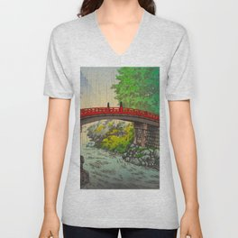Vintage Japanese Woodblock Print Garden Red Bridge River Rapids Beautiful Green Forest Landscape Unisex V-Neck