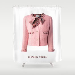 coco vintage pink suit jacke Shower Curtain