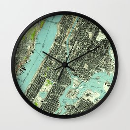 Vintage Central Park & Bronx NY Map (1947) Wall Clock
