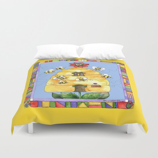 Busy Bees with Border Duvet Cover