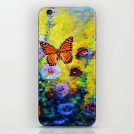 MONARCH BUTTERFLIES HOLLYHOCK YELLOW ART iPhone Skin