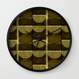 """""""Retro Olive green Chained Circles"""" Wall Clock"""