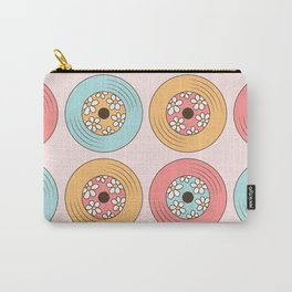 Retro Vinyl Record Pattern, Vintage Music Vinyls Collection With Daisies in Pastel Pink, Mint and Yellow Colors Carry-All Pouch