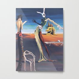 Woman With A Head of Rabbit Metal Print
