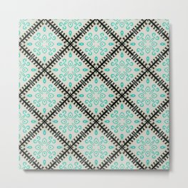 Moroccan Inspired Mint and Black Tile Graphic Design Metal Print