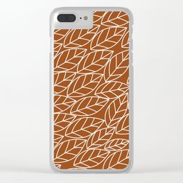 Doodle Leaves Rust and Light Grey (almost white) Clear iPhone Case
