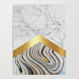 Arrows - White Marble, Gold & Blue Marble #610 Poster