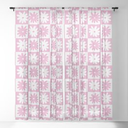 Pink And White Checkered Floral Pattern Sheer Curtain