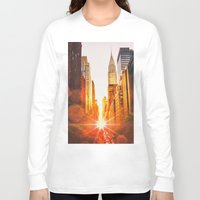 skyline Long Sleeve T-shirts featuring NYC Skyline Sunset by Vivienne Gucwa